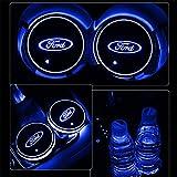 7 color led car lights - Alichee LED Car Logo Cup Holder Pad 7 Colors Changing USB Charging Mat LED Cup Mat Car Atmosphere Lamp Decoration Lights 2PCS (Ford)