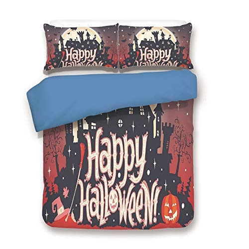 iPrint Duvet Cover Set,Blue Back,Halloween,Medieval Gothic Castle with Happy Halloween Typography Stars Bats Moon Cheerful,Multicolor,Decorative 3 Pcs Bedding Set by 2 Pillow Shams,Queen Size