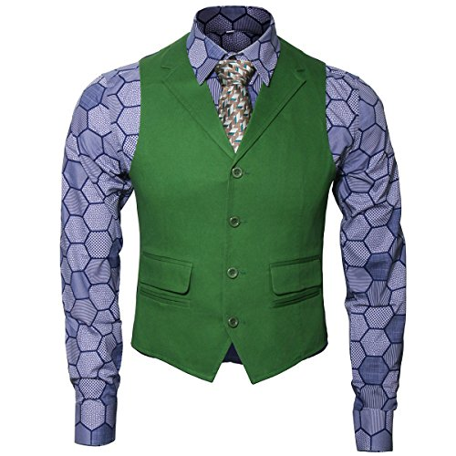Adult Mens Knight Joker Costume Shirt Vest Tie Outfit Suit Set Fancy Dress up Halloween Cosplay Props (Large, Shirt Vest Tie Set)