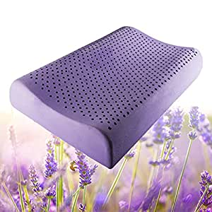 E-essence Lavender Natural Latex Pillow Ventilated Latex Memory Foam Bed Pillow Contour Neck Protection, Standard Size