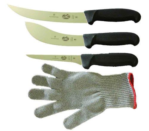 Forschner-Victorinox 5 Inch Boning Knife, 8 Inch Breaking, Knife 6 Inch Skinning Knife & SMALL Polar Bear Cut Resistant Glove