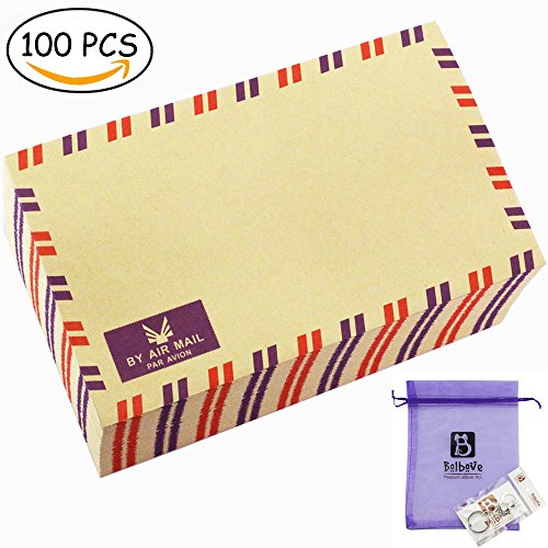 Bolbove Set of 100 AirMail Cute Retro Kraft Paper Postcard Letter Envelopes Invitations (Brown 100 Pcs) (Airmail Postcard)