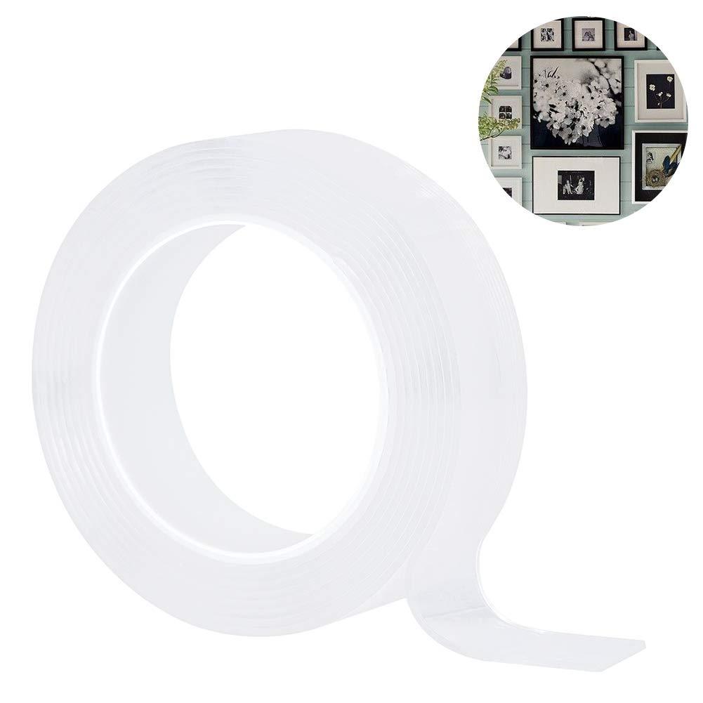 Jiangeshuh Traceless waschbares Klebeband wiederverwendbares Nano Tape doppelseitiges Klebeband aus Silikon Metall klebt an Glas frei zu entfernen K/üchenschr/änken 5M//16.5Ft