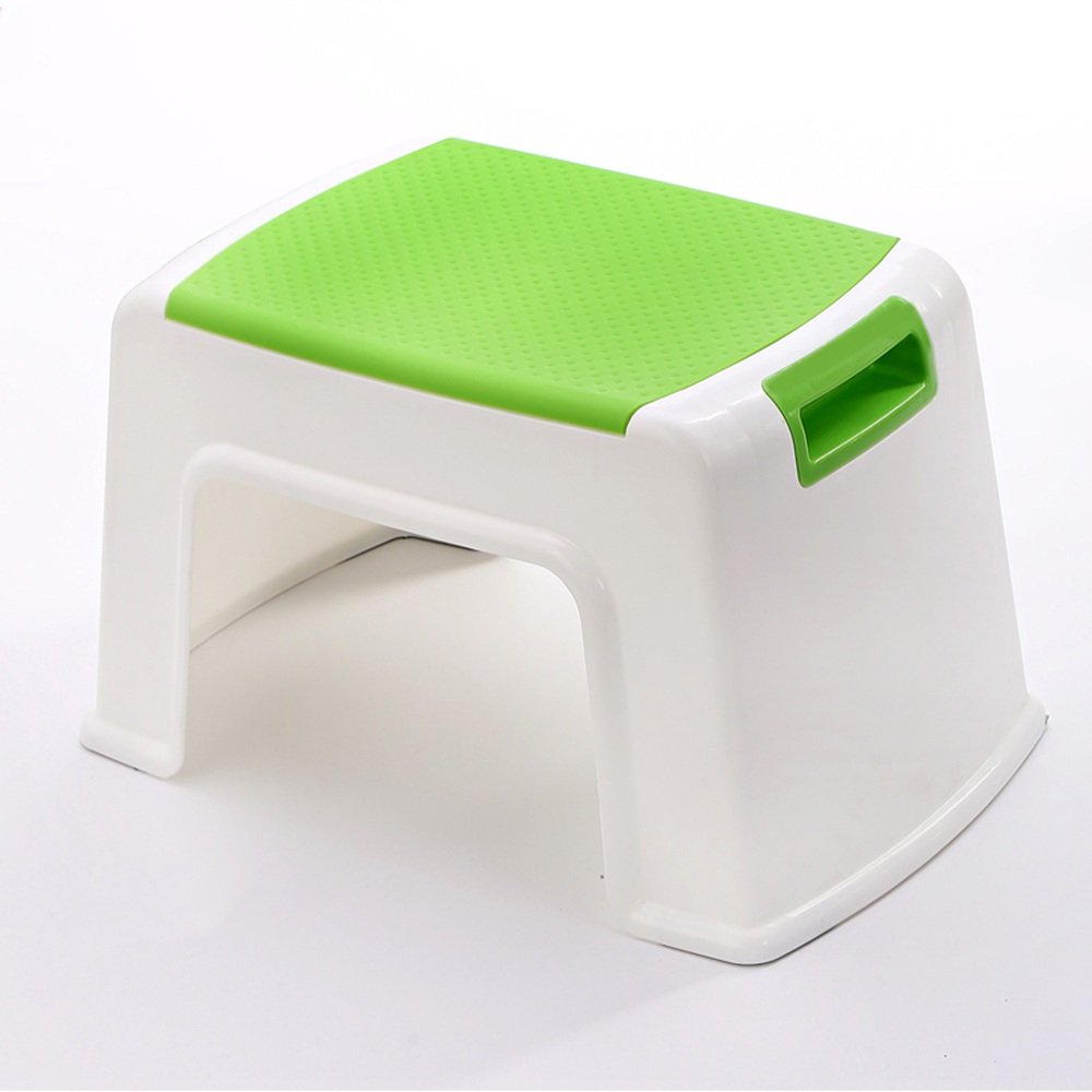 Stool - plastic stool/thickened adult shoes stool/children's stool/bathroom stool/stool/stool/table stool/home stool (four colors optional) (Color : Green, Size : A.212337cm)