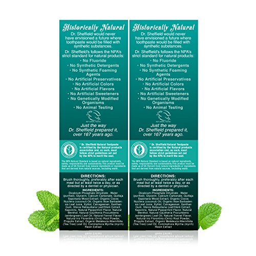 Dr. Sheffield's Certified Natural Toothpaste - WINTERGREEN - 5 OZ (2 PACK) by Dr. Sheffield's (Image #1)'