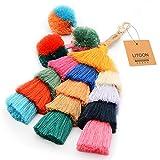 Tassel Pom Pom Key Chain Colorful Boho Charm Key Ring, Fashion Accessories for Women