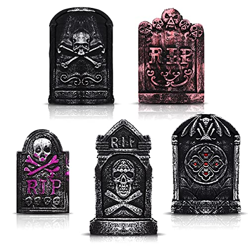 Halloween Foam RIP Graveyard Tombstones (5 Pack), Halloween Headstone Cemetery Decorations with 12 Metal Stakes for Halloween Yard Decor