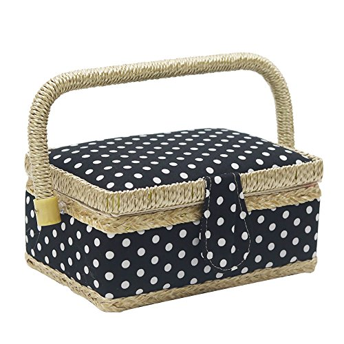 D&D Sewing Basket with Sewing Kit Accessories, Small Sewing Box with Mini Sewing Kit for Travel & Home, Black Polka Dot