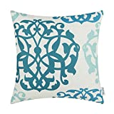 light blue aqua pillows - CaliTime Canvas Throw Pillow Cover Case for Couch Sofa Home, Three-tone Floral Compass Geometric 18 X 18 Inches, Ink Blue / Aqua Blue / Duck Egg