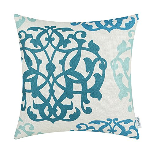 CaliTime Canvas Throw Pillow Cover Case for Couch Sofa Home Decoration Three-Tone Floral Compass Geometric 18 X 18 inches Ink Blue/Aqua Blue/Duck Egg