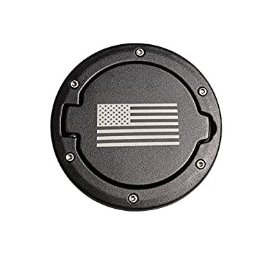 Fontic Stainless Steel Fuel Filler Door Cover Gas Tank Cap for 07-17 Jeep Wrangler JK & Unlimited 2/4 Door