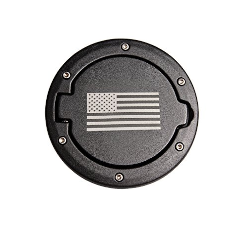 Fontic Stainless Steel Fuel Filler Door Cover Gas Tank Cap for 07-17 Jeep Wrangler JK & Unlimited 2/4 (07 Fuel Tank)