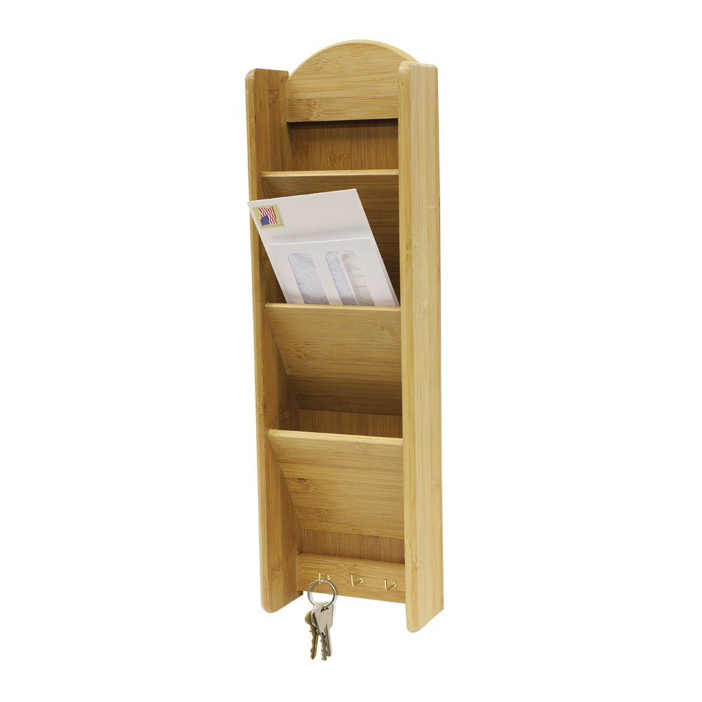 Home Basics Letter Rack 3-Tier with Key Hooks