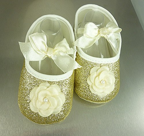 Baby Girl Shoes in Size 2, 6-11 mos, & 3,12-18 mos, USA Ivory & Gold Glitter Pre Walkers, Infant's Soft Crib Slipper, 1st Birthday Footwear, Kids Fashions