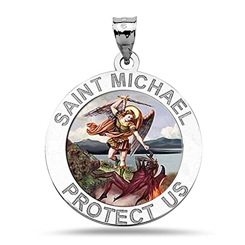 (PicturesOnGold.com Saint Michael Religious Medal Color - 3/4 Inch Size of a Nickel in Sterling Silver WITH ENGRAVING)