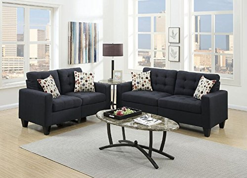 Poundex F6903 Sectional Set, Black by Poundex
