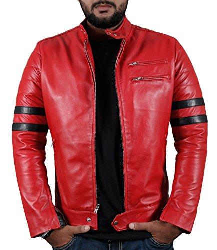 Nappa Leather Biker Jacket - Laverapelle Men's Genuine Lambskin Leather Jacket (Red, Medium, Polyester Lining) - 1501535