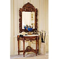 Design Toscano Chateau Gallet Marble Topped Hardwood Console Table and Mirror Set