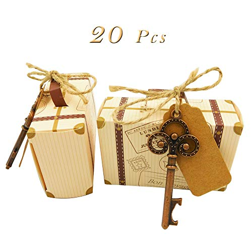 Wgg Mini Suitcase Party Favor Candy Box Retro Airplane Candy Gift Box for Travel Theme Party Wedding Birthday Bridal Shower Party, 20pcs with 20 Vintage Key Bottle Opener]()