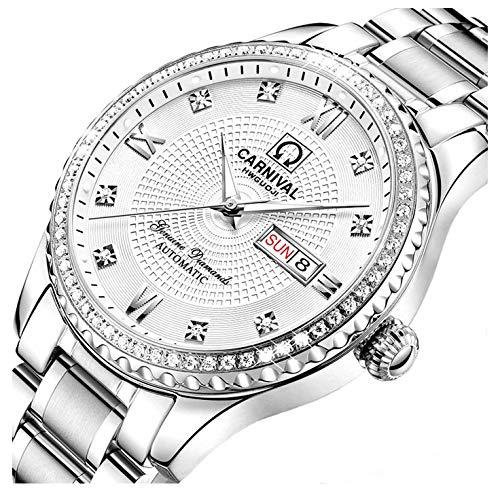 Swiss Made Men Luxury Gold Watches,Automatic Analog Display Calendar Week Luminous Gold Stainless Diamond Watches (White)