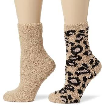 Betsey Johnson Women's 2 Pack Leopard Slipper Socks, Natural, One Size