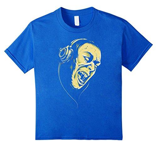 Kids Happy Scary Halloween with Zombie Dj T-shirt 6 Royal (Zombie Dj Halloween Costume)
