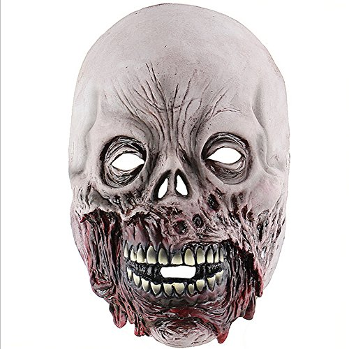 Halloween Rotten Zombie Horror Skull Mask Scary Haunted House Room Escape To Dress Up Latex Hood ()