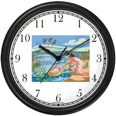Baby Moses is drawn from the Nile by Pharaoh s Daughter – Biblical or Bible Religious Themes Wall Clock by WatchBuddy Timepieces Black Frame