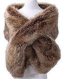 Yiweir Lady's Red Faux Fur Shawl Wrap Stole Shrug Winter Bridal Wedding One Size