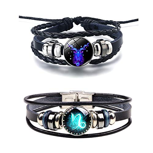 (Q﹠YFH Fashion 12 Zodiac Signs Bracelet with Stainless Steel Clasp Leather Bracelet Bangle Set for Women Jewelry (Capricorn) )