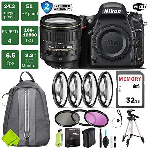 Nikon D750 DSLR Full Frame Camera with 24-120mm VR Lens + 4 Piece Macro Close-Up Set + 3PC Filter Kit (UV FLD CPL) + Tripod + Backpack + 2 Year Extended Warranty (Cheapest Camera Nikon)