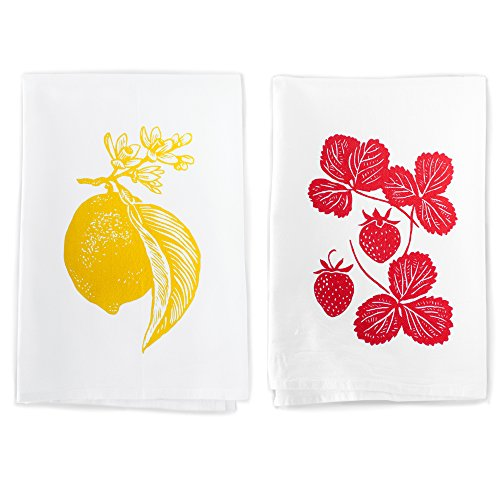 Rigel Stuhmiller Lemon and Strawberry Garden Kitchen Set of 2 Screenprinted Flour Sack 100% Cotton Dish Towels