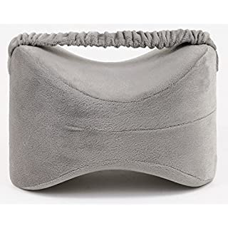 Tektrum Orthopedic Knee Pillow for Sciatica Relief, Back Pain, Leg Pain, Hip pain, Joint Pain, Pregnancy, Spine Alignment - Memory Foam Wedge Contour with Washable Cover and Leg Strap, Grey Color