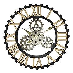 gyx Vintage Wall Clock, Handmade Industrial Gear Wall Clock Retro Wheel Gear Home Decoration Luxury Art Wooden Large Wall Clock, Decoration for Living Room Restaurant Office Bar (50cm)