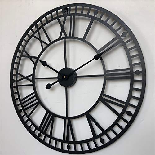 Large Metal Wall Clock Skeleton Wall Clock - Antique Rustic Living Room Ornament Clock, Black,32inch