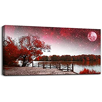 Print Artwork Wall Art Decor Poster for living room Red tree moon starry sky red landscape painting bathroom Wall Art for bedroom Canvas Prints Picture Works Ready to Hang Office Home decorations