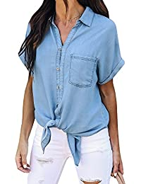 Women's V Neck Short Sleeve Button Closure Denim Chambray Tops Casual Shirts with Pockets