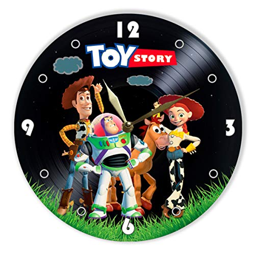 MiraG Toy Story Painted Vinyl Clock - Toy Story Wall Clock - Unique Gifts for Fans Toy Story, Woody, Buzz Lightyear, Jessie - The Best Home Decor