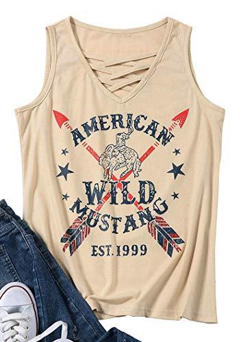 American Wild Mustang T-Shirt Criss Cross Sleeveless Tops Women Casual Summer Funny Vest Tee Size S