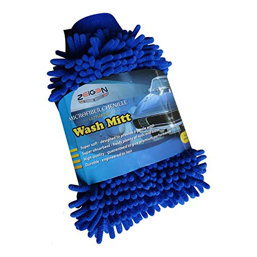 - Zeigen Ultrafine Microfiber Chenille Scratch Free Car Wash Mitt (1 Pack, Blue)