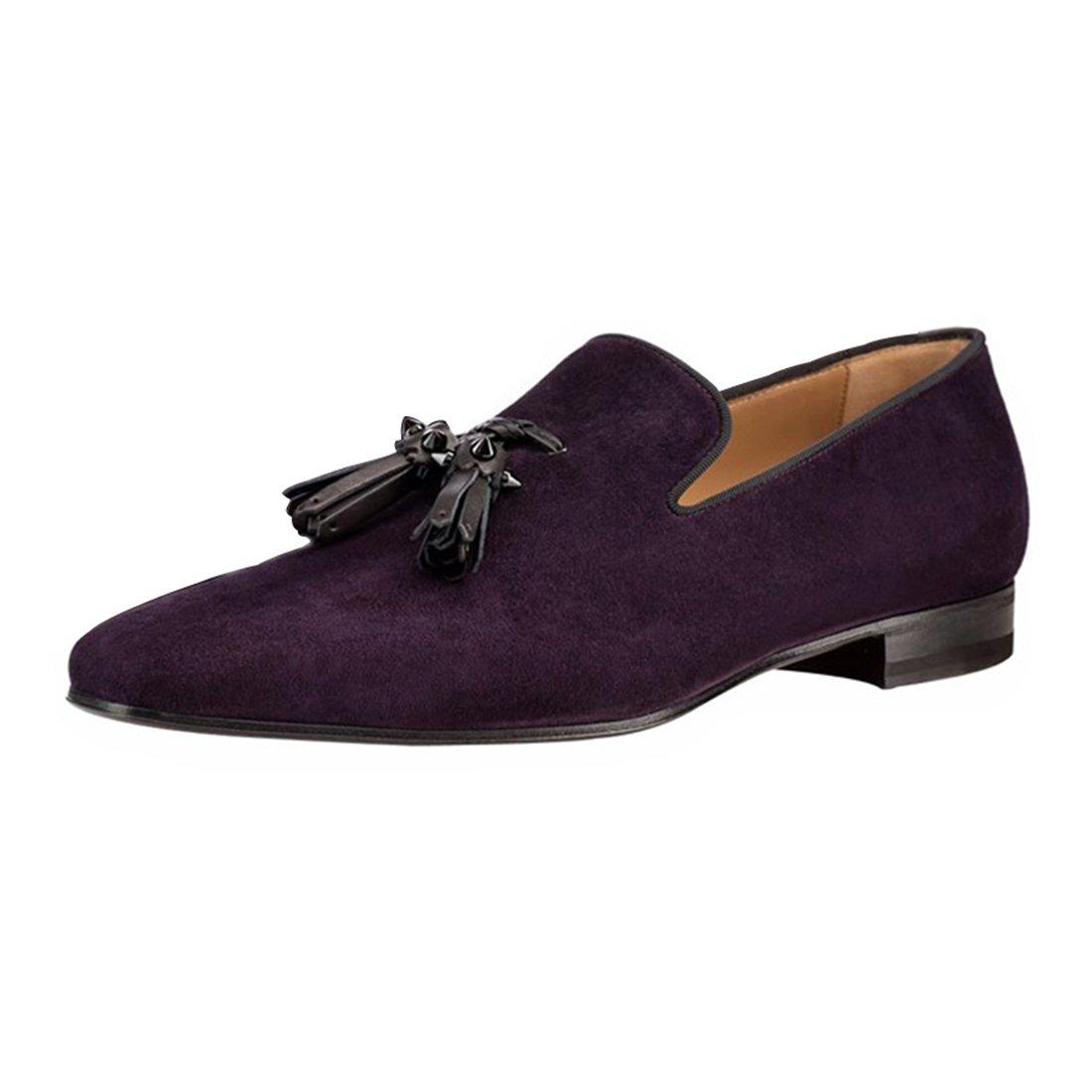 Slip On Dress Shoes Business Tassels Loafers For Men Purple US10.5