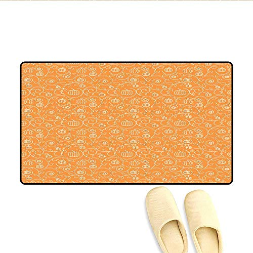 Doormat Pattern with Pumpkin Leaves and Swirls on Orange Backdrop Halloween Inspired Bath Mats Carpet Orange White -