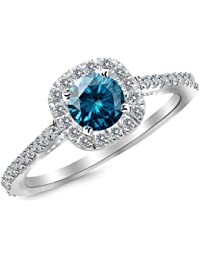 0.85 Carat 14K White Gold Gorgeous Classic Cushion Halo Style Diamond Engagement Ring with a 0.5 Carat Blue Diamond Center (Heirloom Quality)