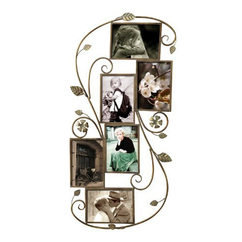 Adeco 6 Opening Decorative Bronze Filigree Wall Hanging Collage Picture Photo Frame - Made to Display Six 5x7 - Frames Decorative Photo