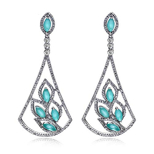 (QMM earring Pendant earrings sUnique Hollow Design Marquise Blue Stones Bridal Dangling Drop Earring Jewelry Girl Accessories Unique Party)