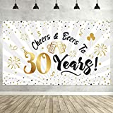 Happy 30th Birthday Backdrop Background Banner Large Men Women 30th Anniversary Backdrop Photo Booth Cheers to 30 Years Banner for 30th Birthday Party Decorations Supplies 72.8 x 43.3 inch