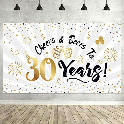 Decorations For 30th Birthday Party (30th Birthday Party Decorations, Large Black and Gold Sign 30th Birthday Backdrop Banner Photo Booth Backdrop Background for 30th Birthday Party)
