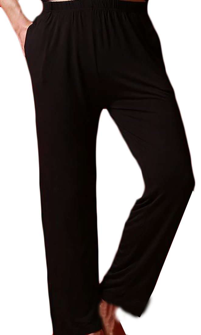 Cromoncent Mens Big and Tall Waist Drawstring Straight PJ Bottom Sleepwear Black XXL