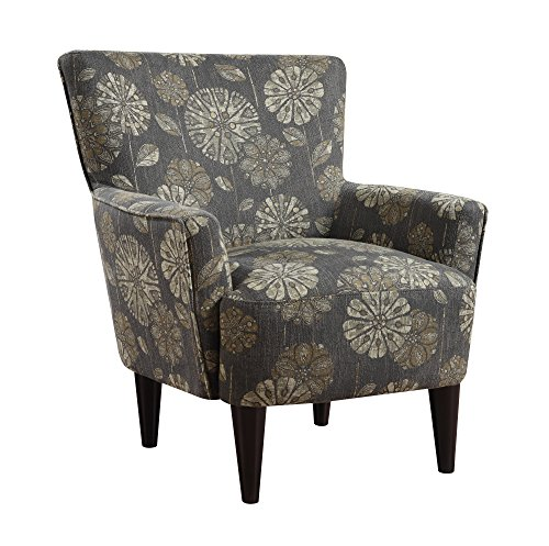 Pewter Living Room Set - Emerald Home Flower Power Cascade Pewter Accent Chair with Flared Arms And Welt Trim