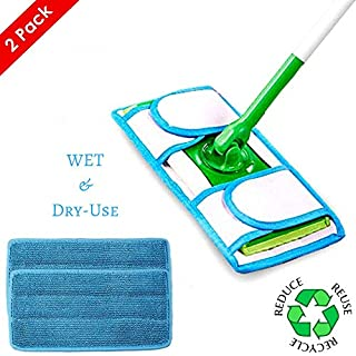 Reusable Microfiber Mop Pads for Swiffer Wet Jet Refills, Machine Washable Refill Pads for Swiffer Wet Jet Pads, Microfiber Mop Refill for Hardwood Floor, 2-Pack